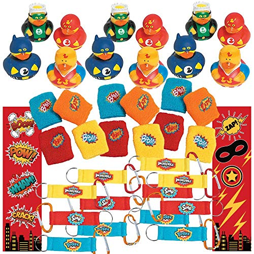 Superhero Party Supplies (48 Piece Party Favor Set) 12 Superhero Rubber Ducks, 12 Carabiner Keychains, 12 Superheroes Wristbands, 12 Super Hero Bookmarks - Bulk Kids Birthday Assortment Pack