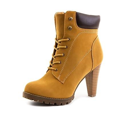 Marimo Damen Schnür Boots Stiefeletten in Hochwertiger Lederoptik Camel 38 1o8Dd