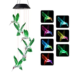 Wind Chimes, Hummingbird Wind Chimes Outdoor,Solar Wind Chimes, Gifts for mom, Birthday Gifts for Women