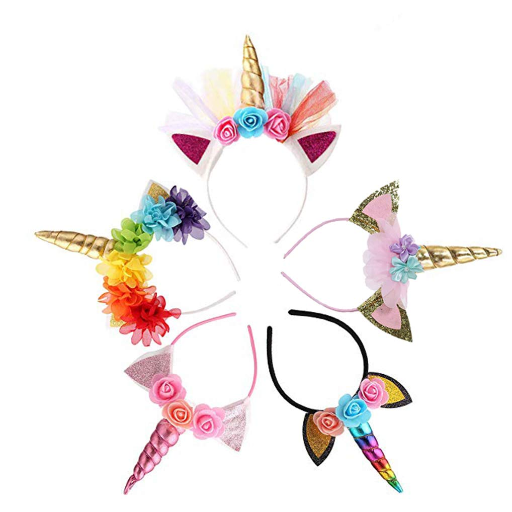 Unicorn Party Favor Supplies 5 Pack Unicorn Headband Animal Photo Props with Glitter Ears for Girls Unicorn Theme Birthday Cosplay Christmas Halloween Party Costume