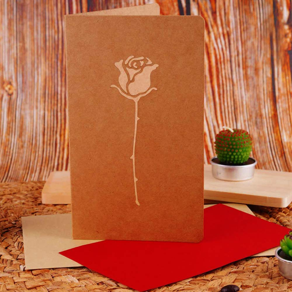 compleanno Biglietto di auguri per San Valentino ideale come regalo per fidanzamento LONGBLE anniversario motivo: rose rosse e amore matrimonio fidanzamento con busta