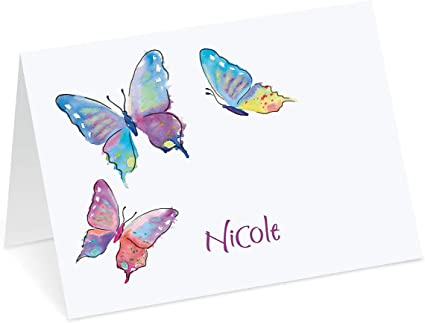 Blue F6254 BUTTERFLY /& FLOWERS Blank Note Cards with Envelopes 8pcs, 5x3
