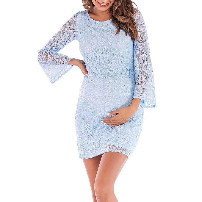 6db976f33b STRIR Vestido de Noche de Mujeres Embarazadas Vestido de Encaje Maxi Vestido  de Playa Vestido de