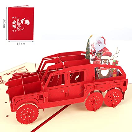 Christmas Jeep.Amazon Com Jeep 3d Christmas Cards Merssyria Handmade