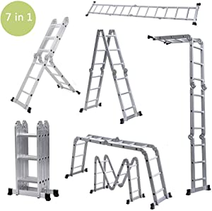 Benlet Folding Multi Extendable Ladder, 330lbs 12.5ft 7 in 1 Step Adjustable Ladder Scaffold, Attic Roof Loft Bunkhouse Collapsible Labber with Safety Locking Hinges (US Storage)