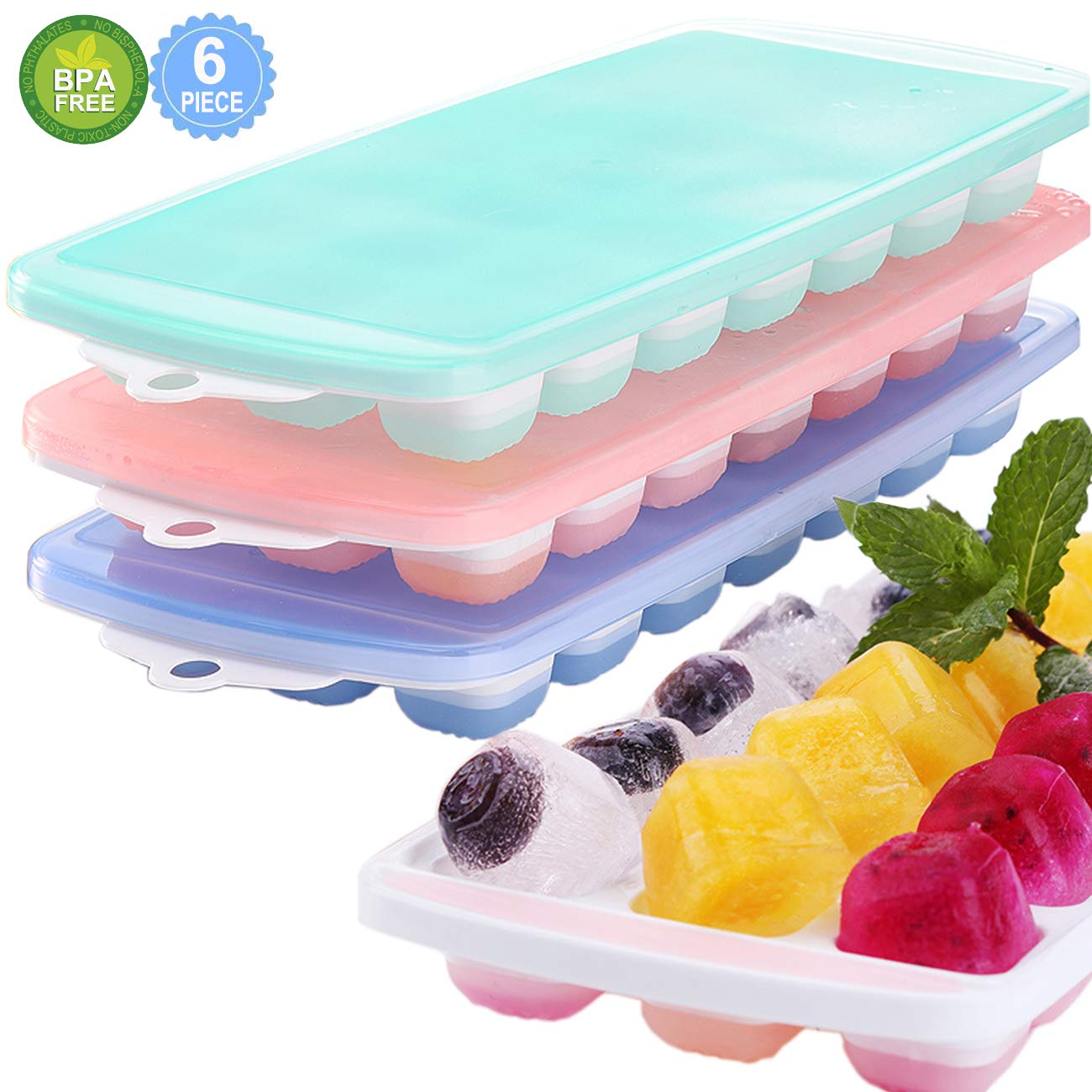 Ice Cube Trays, 3 Packs Food Grade Flexible Silicone Ice Cube Molds Tray with Lids, Easy Release Ice Trays Make 63 Ice Cube, Stackable Durable and Dishwasher Microwave Safe, BPA Free