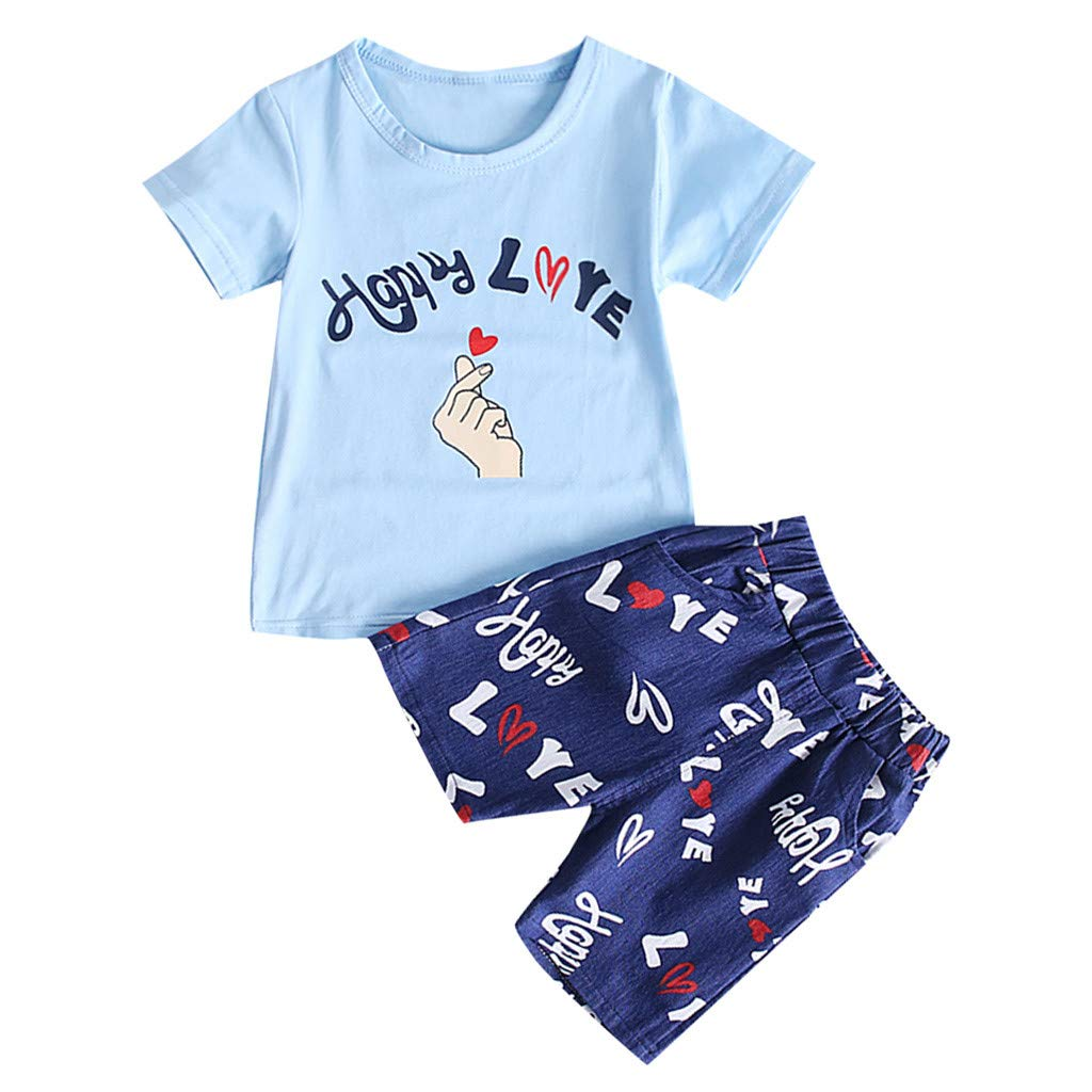 NUWFOR Kids Baby Girl Boy Cartton Letter Print Tops T Shirt Striped Pants Outfits Set(Blue,6-12 Months)