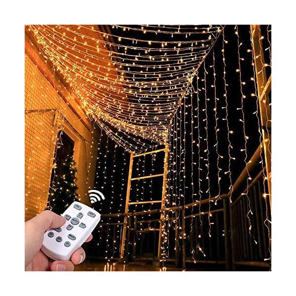 Tomshine Tenda Luci LED 3 x 3 meters, 300 LEDs con Luci Natale Tenda, IP65, 8 Programmi di Luce,Tenda di Luci per Natale, Decorazione Feste, Interni (Bianco Caldo) 1 spesavip
