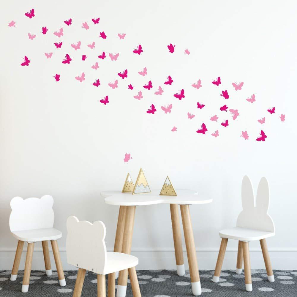 Nufelans DIY Wall Decal Stickers Vinyl Butterfly Art Wallpaper Sticker Nursery Decor for Kids Rooms Girls Boys Bedroom Living Room (Rose Red)