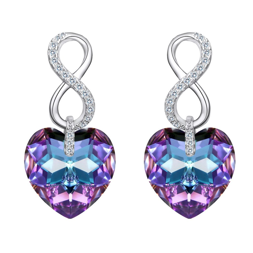 Ever Faith 925 Sterling Silver CZ Figure 8 Infinity Love Heart Dangle Earrings Vitrial Light Purple Adorned with Crystals from Swarovski® N09042-2