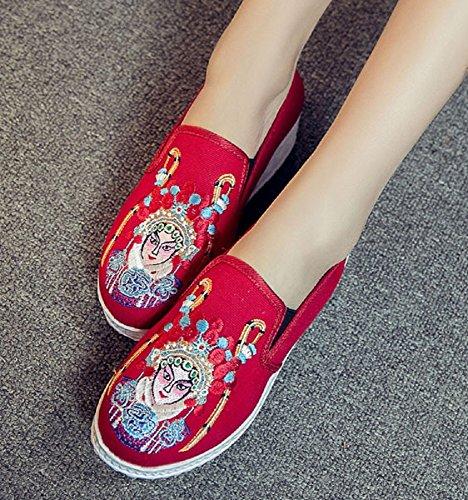 de Lona Crown Tianrui Merceditas Red para mujer 6w1aEx
