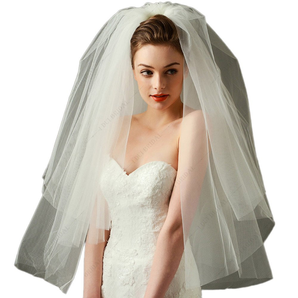 New Style Simple Two Layer Super Puffy Wedding Veil Bridal Hair Accessory Bridal Hair Cover (Ivory)