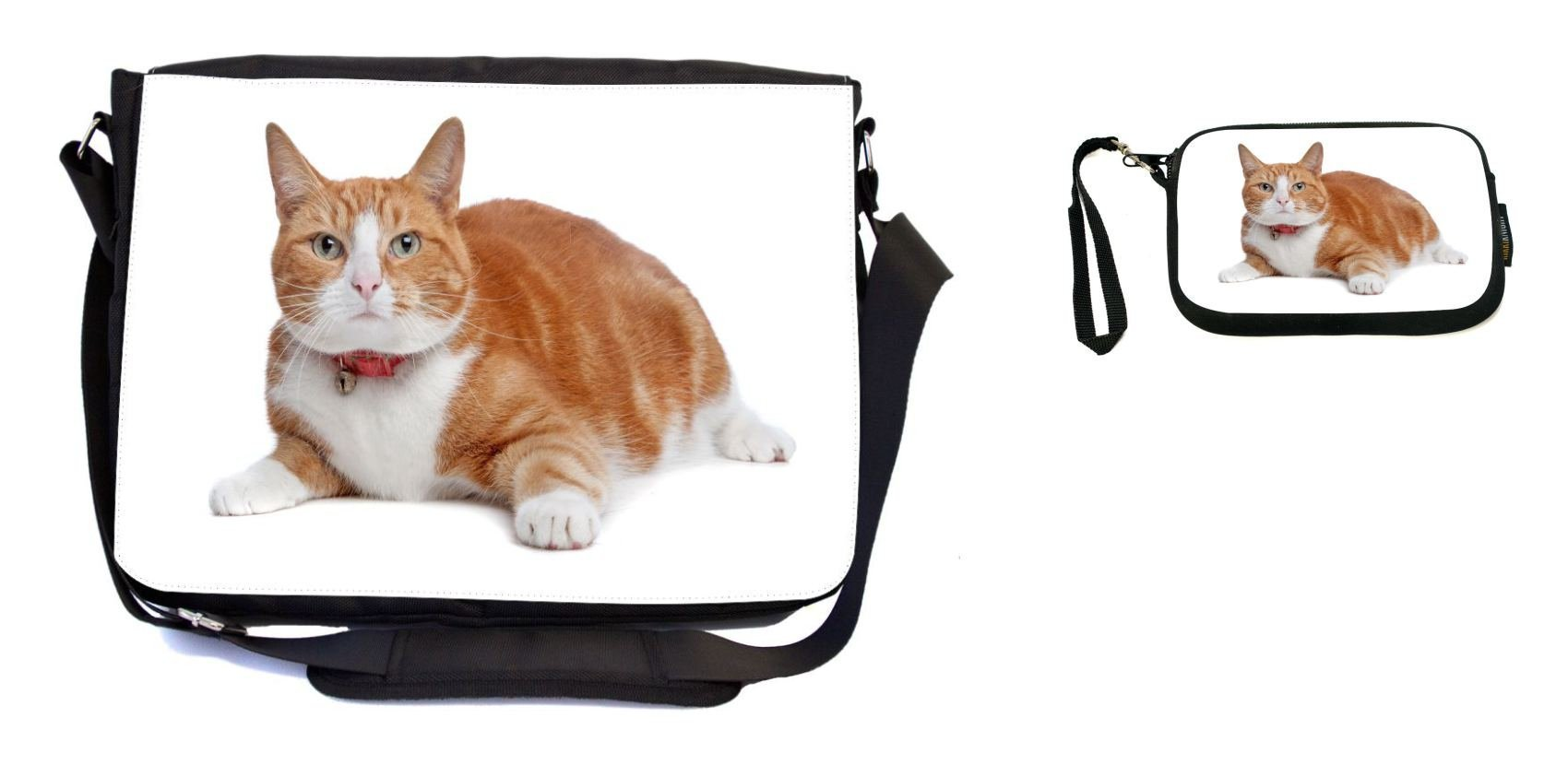Rikki Knight European Short Haired Ginger and White Cat Design Messenger Bag - School Bag - Laptop Bag - with Padded Insert - Includes UKBK Premium Coin Purse