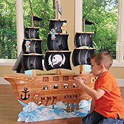CP Toys Wooden High Seas Adventure Pirate Ship Playset with 6 Figures and Accessories