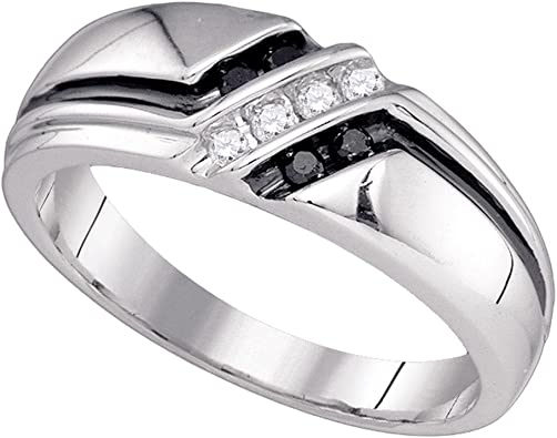 Sterling Silver Mens Round Black Color Enhanced Diamond Milgrain Wedding Anniversary Band Ring 1//2 Cttw