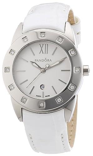 Pandora 811011WH - Reloj analógico de mujer de cuarzo con correa de piel blanca: Amazon.es: Relojes