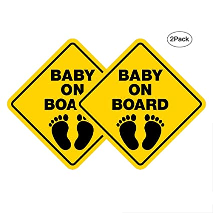 54917a7d166 vylymuses 2pcs Reflective Baby On Board Sign Stickers for Boy and Girl 100%  UV Print