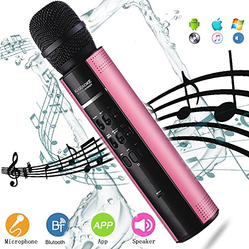 Wireless Karaoke Microphone YingGEE Portable Bluetooth Mic Machine with Speaker Male Female Voice Transformation USB Rechargeable for Home KTV Outdoor Picnic Family Party Music by YingGEE