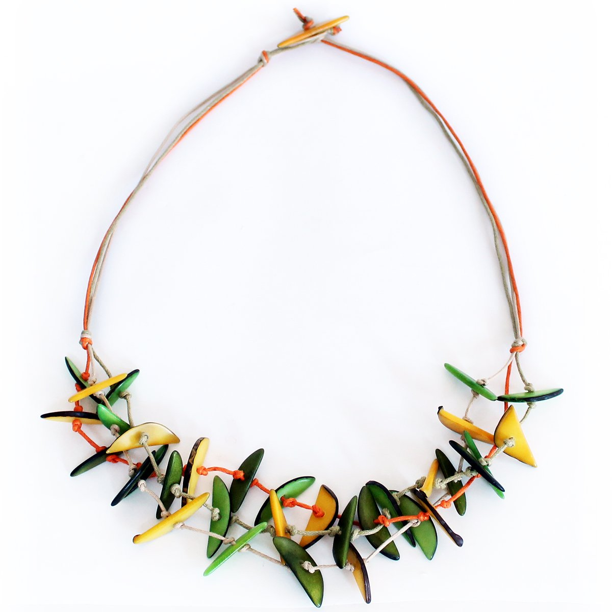 Slivers Tagua Necklace Yellow and Green