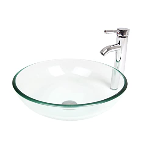 Elecwish Bathroom Tempered Glass Clear Bowl Vessel Sink Countertop Round Basin Chrome Faucet 1 2 Pop Up Drain