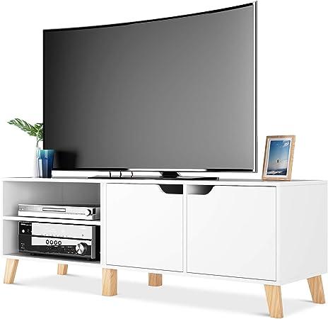 Homfa Mueble TV Salón Mesa para TV con 2 Puertas 2 Compartimientos Blanco 140x40x48cm: Amazon.es: Hogar