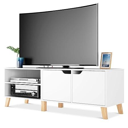 Homfa Mobile Porta TV in Legno Armadio Moderno con 2 Ripiani e 2 Ante  Supporto TV con 6 Gambe 140 x 40 x 48 cm (Bianco)
