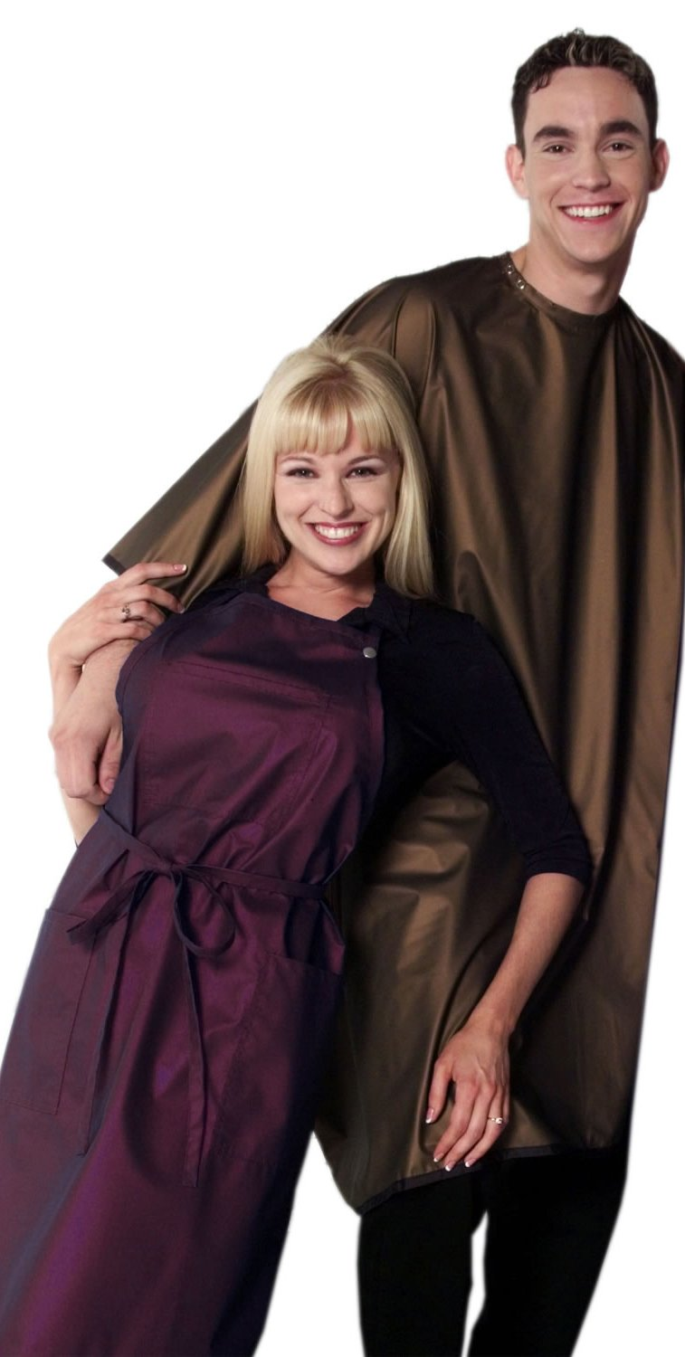 Set of 6 SABLE Brown Metallic Pearl (SAVE $30) Salon Barber Waterproof Oversized Cape +FREE YS Park Clips ($15 value)