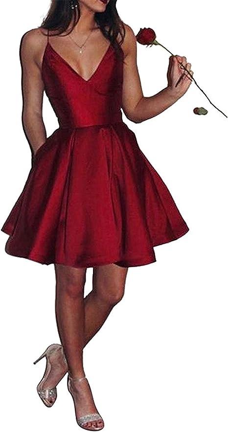 Sweetylife Kurz Lang Satin Abendkleider Ballkleider Abschlussballkleider Hochzeitsgast Kleid Mit Spaghettitragern N013 Amazon De Bekleidung