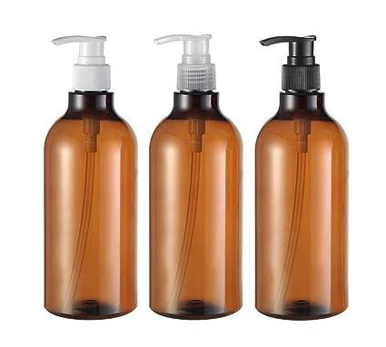 3pcs 16.6oz Brown recargable vacío bomba de plástico Botellas tarro para maquillaje cosmética baño ducha