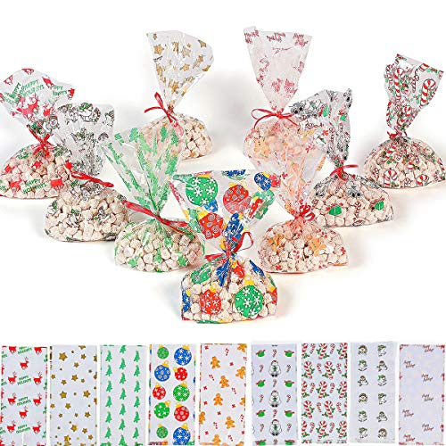 Christmas Cellophane Bags 9 dz assortmet - 108 pc by Fun Express