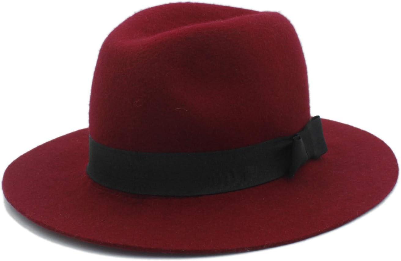 Duyani Sombrero de Fieltro de Lana 100% de ala Ancha Fieltro Flexible Trilby Bowknot Sombrero de Iglesia Elegante Mujer Hombre Invierno Auturmn Cashmere Gangster Fascinator Sombrero