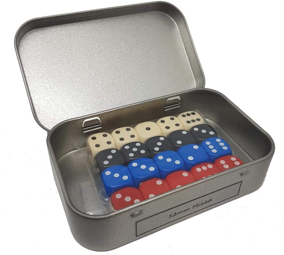 Knuttys Knobs Mixed Opaque 20 x 6 Sided Dice in a Tin 12mm D6 Spot Cubes for Playing Games Accessories M02
