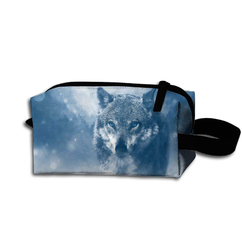 Makeup Cosmetic Bag Animals Wolf In Snow Medicine Bag Zip Travel Portable Storage Pouch For Mens Womens