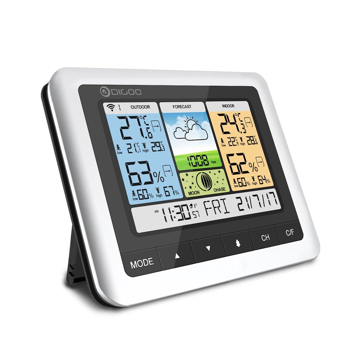 温湿度計 DIGOO 気象計 ワイヤレス 天気予報 カラーフル デジタル クリーン 無線 外部センサー 卓上カレンダー スヌーズ アラーム 月相