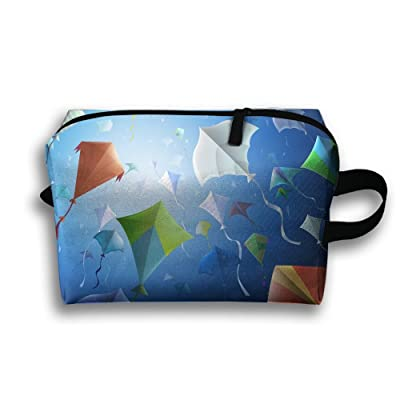 Colorful Kites Flying To The Sky Travel Cosmetic Bags Small Makeup Clutch Pouch Cosmetic And Toiletries Organizer Bag