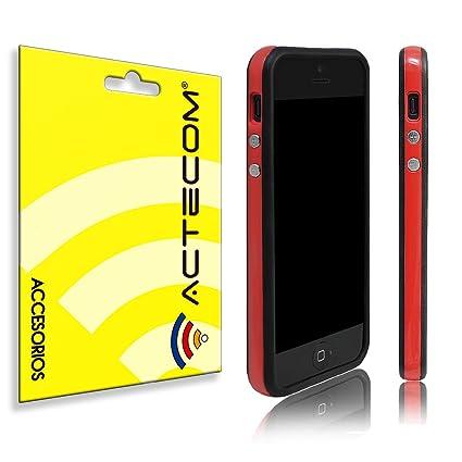 b75b931777f cogac ACTECOM® Funda Bumper para iPhone SE 5 5S Rojo Bordes Negros Carcasa  Protectora