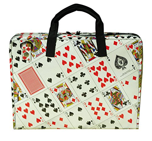 LAPTOP briefcase made of playing cards, FREE SHIPPING, play card padded office computer work working bag upcycled upcycle upcycling recycling different smart person enthusiasts enthusiast by Upcycling by Milo