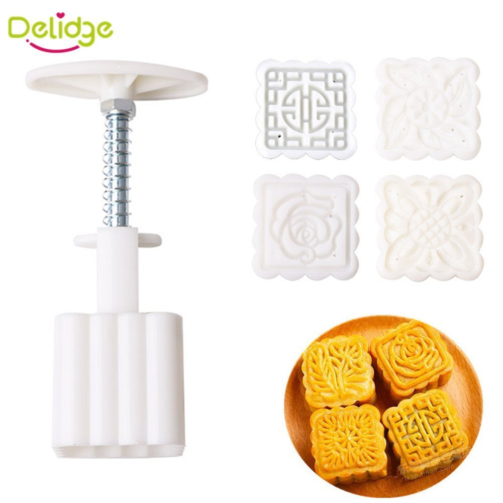 Delidge 4pcs Flower Stamps Traditional Mid-Autumn Festival Mooncake Mould Moon Hand Press Cake Decoration Mold Moon Cake Cutter Mold Set Baking DIY Tool Square 50g - White C1748SS