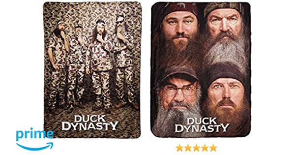 Amazon.com: Duck Dynasty Camo Pose / 4-Faces Fleece Throw Blankets on