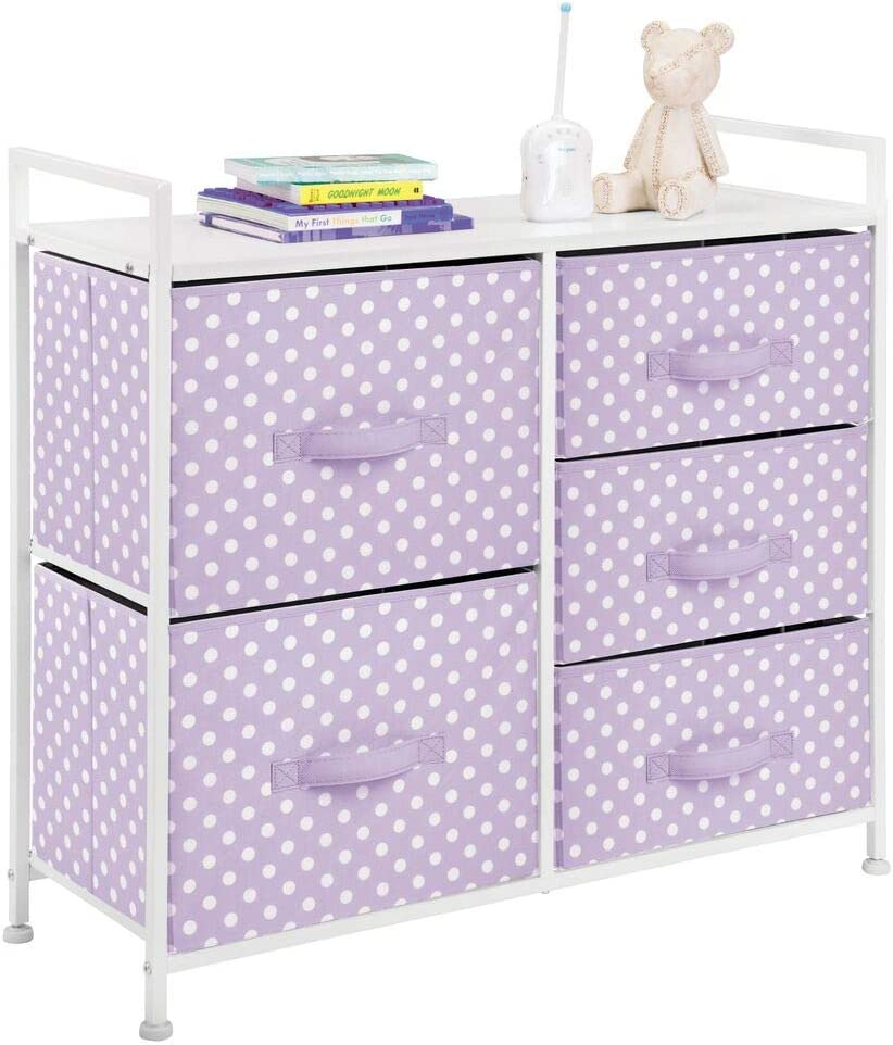 mDesign Wide Dresser 5 Drawers Storage Furniture - Wood Top, Easy Pull Fabric Bins - Organizer for Child/Kids Room or Nursery - Polka Dot Pattern - Light Purple with White Polka Dots