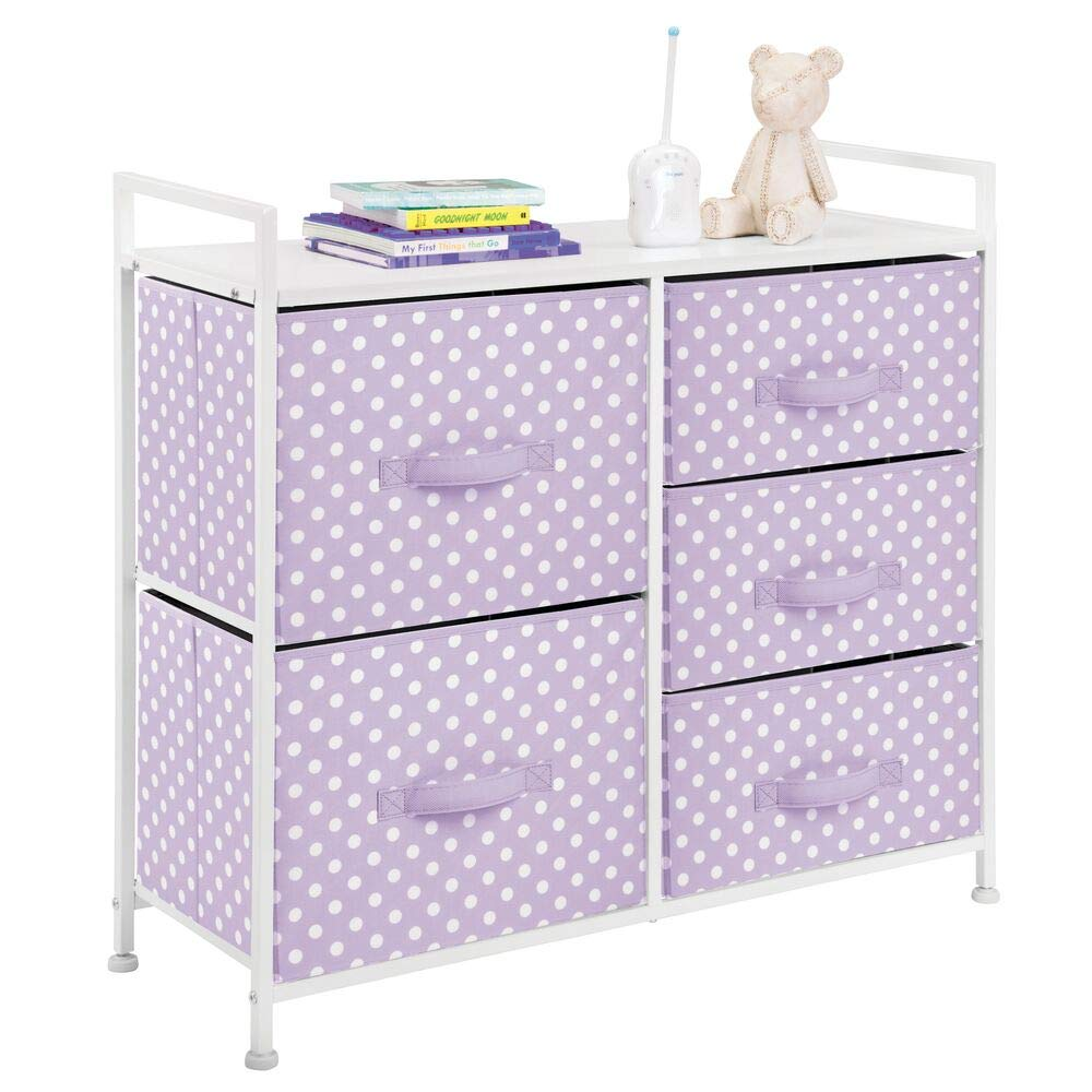 mDesign Wide Dresser 5 Drawers Storage Furniture - Wood Top, Easy Pull Fabric Bins - Organizer for Child/Kids Room or Nursery - Polka Dot Pattern - Light Purple with White Polka Dots by mDesign