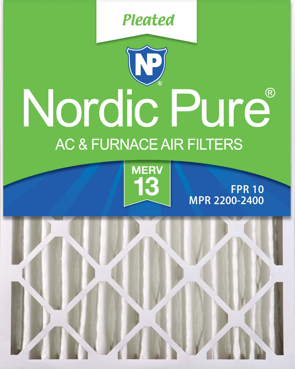 Nordic Pure 16x25x4 (3-5/8 Actual Depth) Pleated AC Furnace Air Filters, 1 Pack, MERV 13 by Nordic Pure