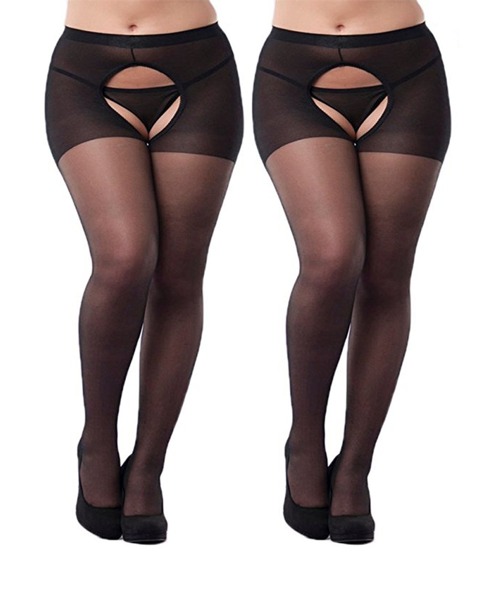 68957a709af Galleon - 2-Packs Women Sexy Open Crotch Pantyhose Plus Sized Tights  Stocking (Plus Size