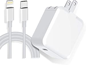 iPhone Fast Charger, 20W PD Fast Wall Charger Type C Power Charger Travel Plug with USB C to Lightning Quick Charge Sync Cable Compatible with iPhone 12/11/XS/XR/X 8/SE