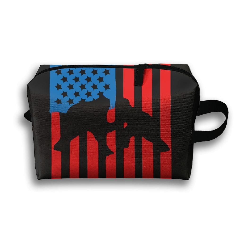 Wrestling American Flag Oxford Travel Toiletries Bag Cosmetic Handbag For Women Men Portable