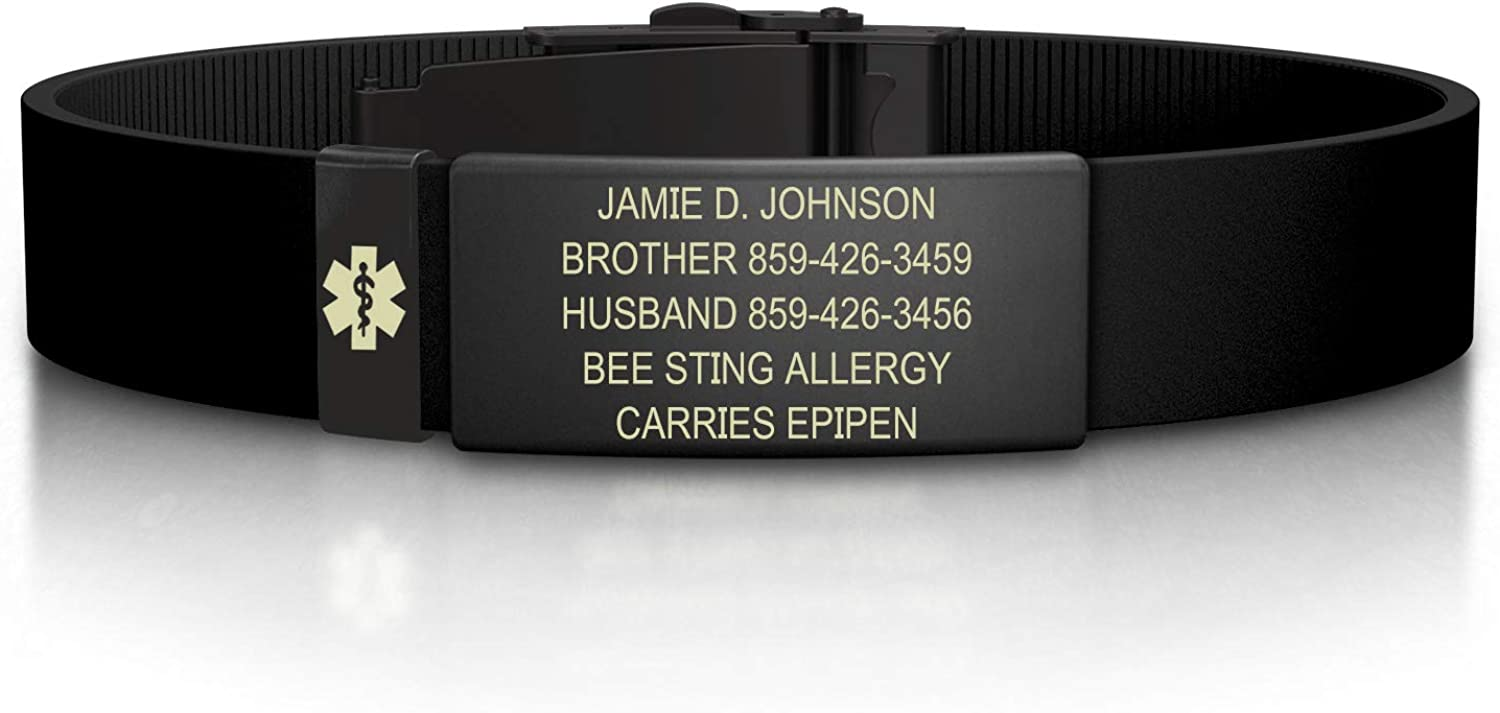Premium ID Wristband with Medical Alert Badge ROAD iD Personalized Medical ID Bracelet Silicone Clasp