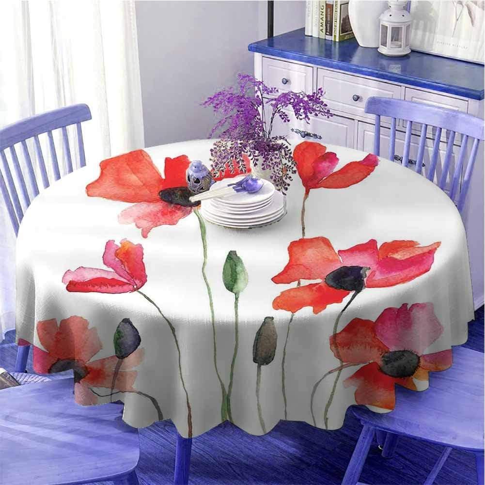 Acuarela flor impermeable mesa redonda amapolas silvestres naturaleza prado pintura con efecto acuarela secado rápido diámetro 39 pulgadas verde naranja rosa