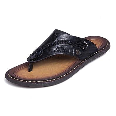 60679e9598b5 Sandals for Men Classic Leather Anti-skidding Flip-Flops Beach Slippers  Outdoor Black