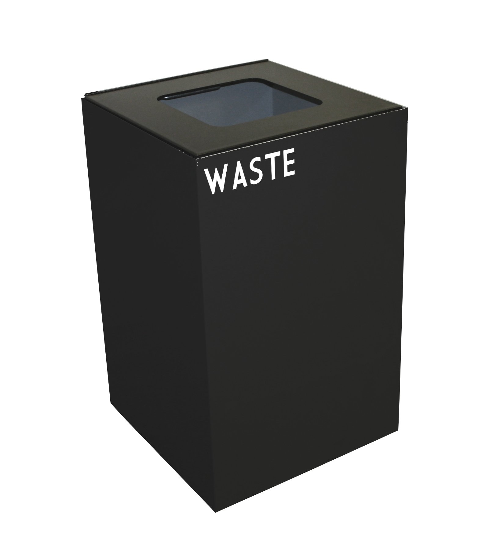 Witt Industries 24GC03-CB Steel 24-Gallon Geo Cube Recycling Container, Square Opening, Legend ''Waste'', Square, 15'' Width x 15'' Depth x 24'' Height, Charcoal