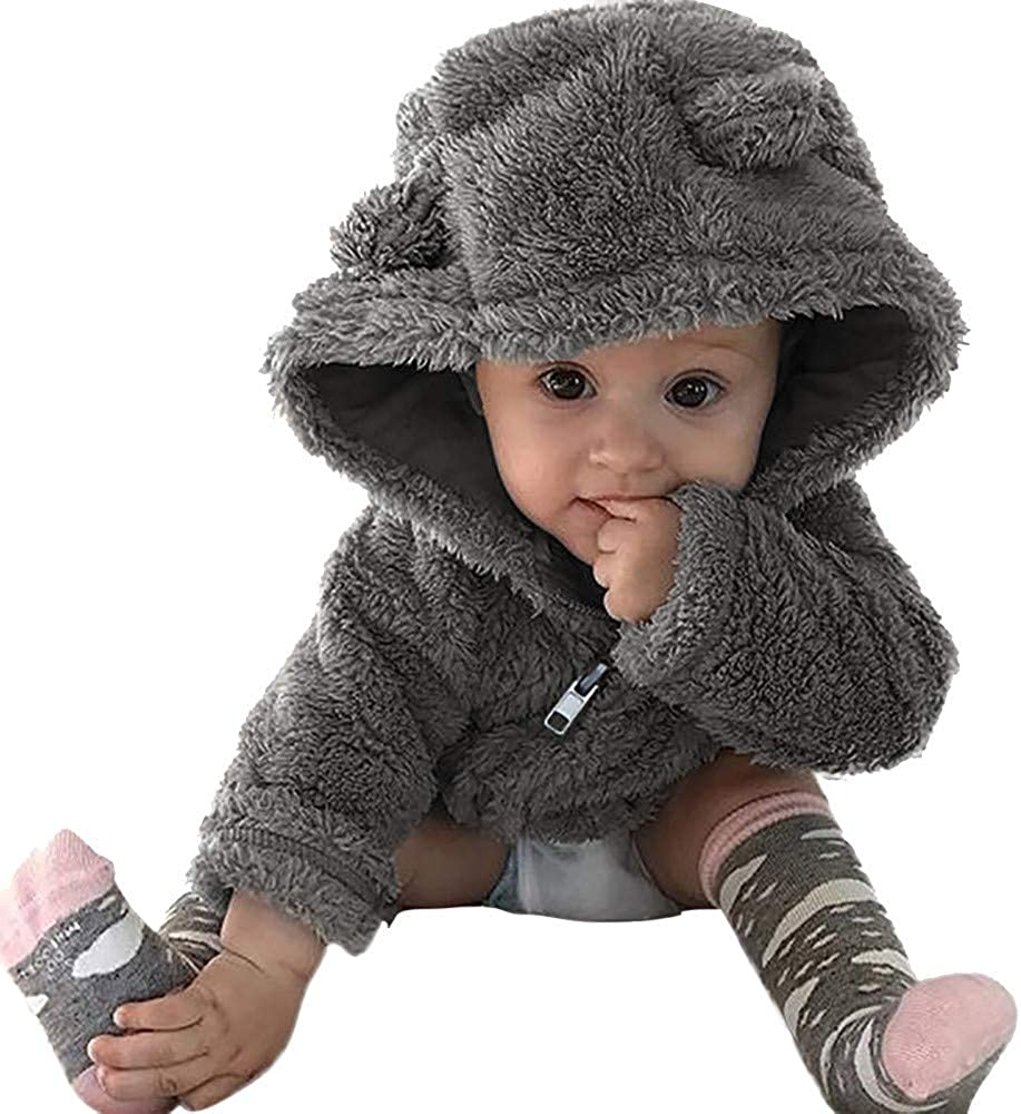 0-3T Toddler Baby Boys Girls Cute Ears Coat Fur Hoodie Zipper Outerwear Tops Winter Warm Thick Jacket Snowsuit